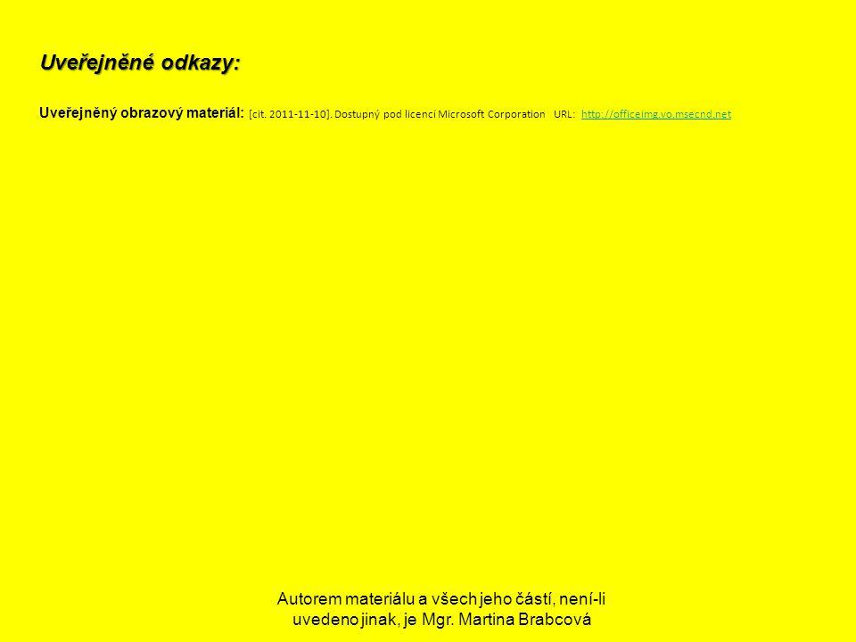 Uveřejněné odkazy: Uveřejněný obrazový materiál: [cit. 2011-11-10]. Dostupný pod licencí Microsoft Corporation URL: http://officeimg.vo.msecnd.net.